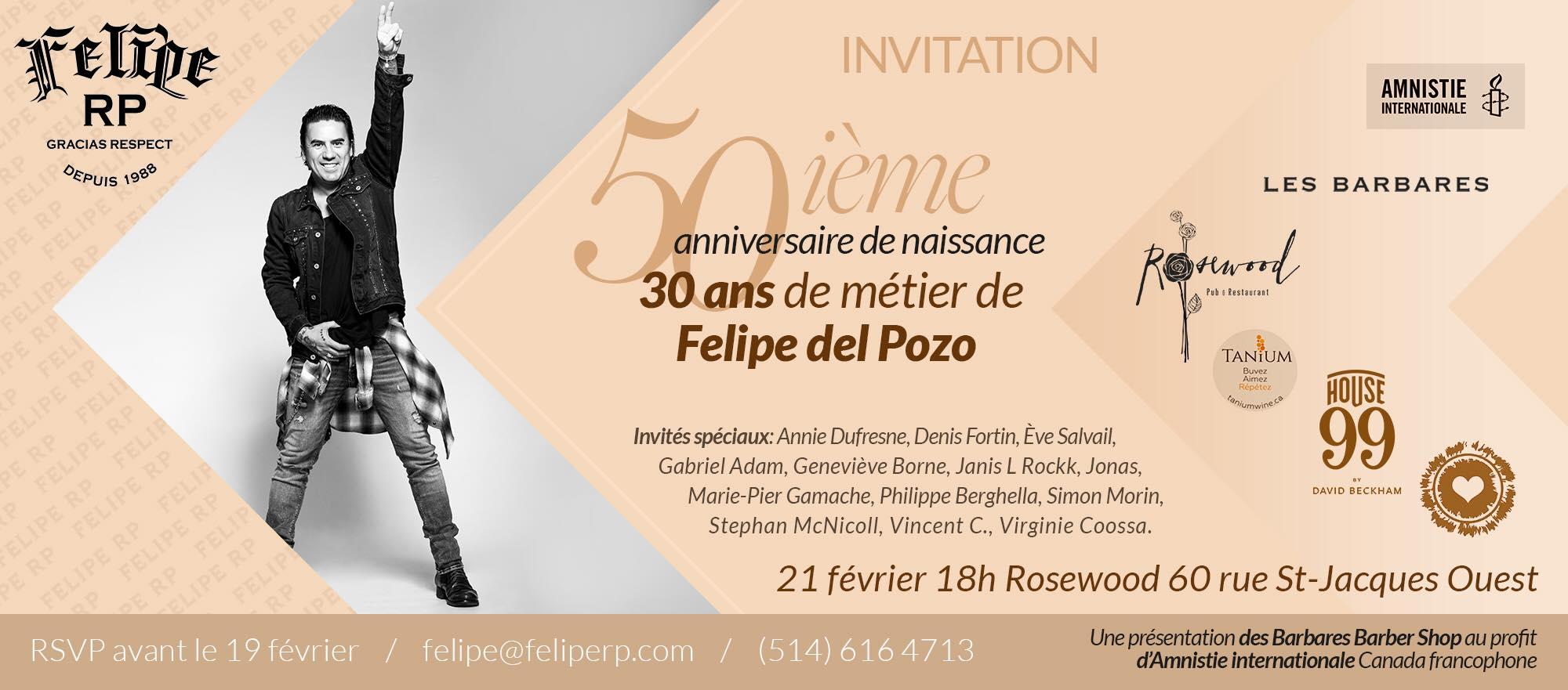 INVITATION 50E ET 30 ANS DE MÉTIER FELIPE DEL POZO