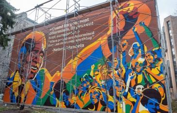 Une murale en l'honneur de Nelson Mandela à Montréal